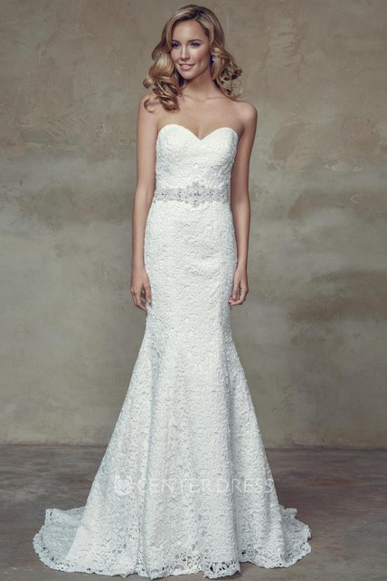 23947b18d1 Sheath Floor-Length Sweetheart Lace Wedding Dress With Waist Jewellery And Corset  Back - UCenter Dress