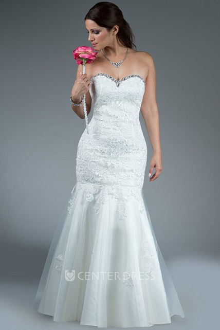 b091236f3ee Crystal Sweetheart Trumpet Gown With Lace Top And Tulle Skirt - UCenter  Dress