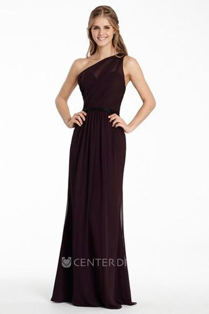 041e3b905cd1 Sheath One-Shoulder Long Jeweled Sleeveless Chiffon Bridesmaid Dress With  Ruching And Brush Train - UCenter Dress