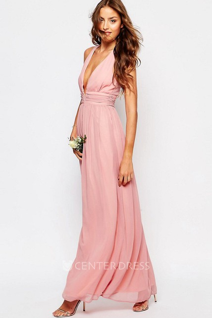 Ankle-Length Sleeveless V-Neck Pleated Chiffon Bridesmaid Dress With Straps
