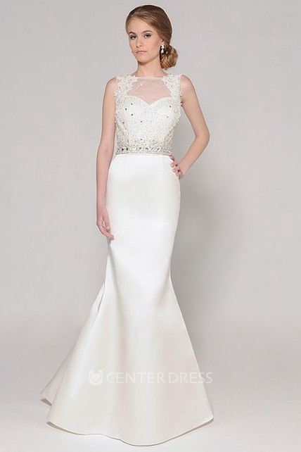 b176c03bea1bf9 High Neck Long Appliqued Jeweled Satin Wedding Dress With Sweep Train And  Illusion - UCenter Dress