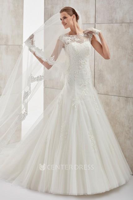 79ec80282 Jewel-neck Cap-sleeve Wedding Dress with Mermaid Style and Open Back -  UCenter Dress