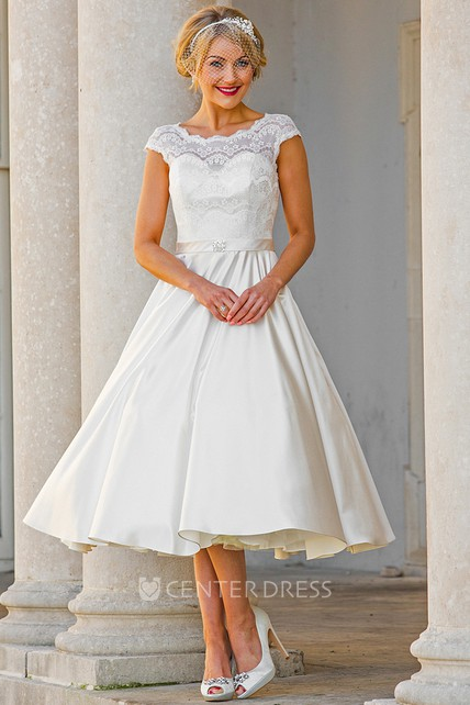 Tea length a line cap sleeve lace scoop neck satin wedding for Tea length lace wedding dresses cap sleeves