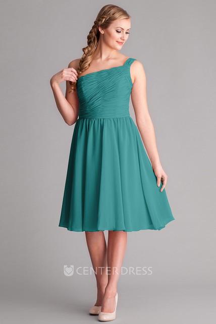 3fbf1fd1429f2 Knee-Length Sleeveless Ruched One-Shoulder Chiffon Bridesmaid Dress -  UCenter Dress