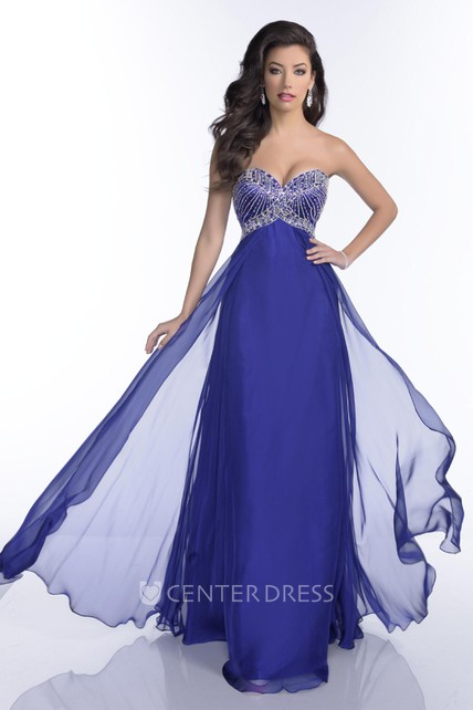 16fb4a2d446 Empire Chiffon Sweetheart A-Line Prom Dress Featuring Jeweled Bust -  UCenter Dress