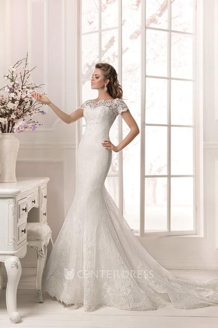 5d4593f6a81 Floor Length Short Sleeve Lace Applique Sheath Dress - UCenter Dress