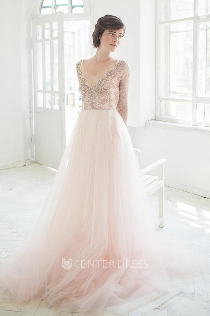 b2936c1109d V-Neck Illusion Long Sleeve Tulle A-Line Dress With Beading - UCenter Dress