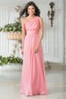 One-Shoulder A-Line Flowy Chiffon Gown With Pleats