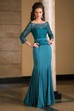 3-4 Sleeved Mermaid Mother Of The Bride Dress With Jewels And Pleats