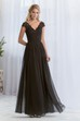 Cap-Sleeved V-Neck A-Line Bridesmaid Dress With Lace Bodice And V-Back