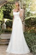 A-Line Cap-Sleeve Square-Neck Lace Wedding Dress