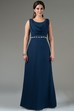 Front Drape Scoop Neck A-Line Chiffon Long Bridesmaid Dress With Crystal Waist