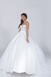 Sweetheart Tulle Overlay Satin Ball Gown Featuring Jeweled Bodice
