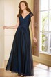 Cap-Sleeved V-Neck A-Line Gown With Crisscross Ruches