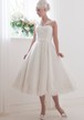 A-Line Tea-Length Appliqued V-Neck Sleeveless Tulle Wedding Dress With Bow