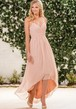 Halter A-Line High-Low Bridesmaid Dress With Crisscrossed Ruches