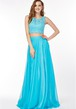 Sheath Sleeveless Scoop Neck Pleated Chiffon Prom Dress