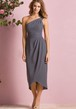 One-Shoulder Tea-Length Bridesmaid Dress With Ruched Waist