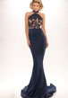 Sheath Sleeveless High Neck Lace Long Jersey Prom Dress With Backless Style And Brush Train