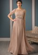 Half-Sleeved A-Line Long Mother Of The Bride Dress With Pleats And Beadings