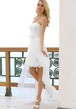 Strapless Knee-Length Bowed Lace Wedding Dress With Appliques