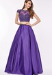 A-Line T-Shirt Sleeve Scoop Neck Beaded Satin Prom Dress With Keyhole