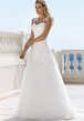 V-Neck Long Appliqued Satin Wedding Dress With Illusion