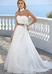 A-Line Beaded Strapless Satin&Tulle Wedding Dress With Flower And Ribbon