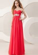 A-Line Sweetheart Ruched Empire Floor-Length Sleeveless Chiffon Prom Dress With Waist Jewellery