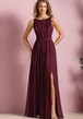 Sleeveless Bateau-Neck A-Line Bridesmaid Dress With Front Slit And Pleats