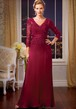 3-4 Sleeved V-Neck Long Mother Of The Bride Dress With Sequins And Appliques