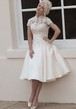 A-Line Tea-Length Appliqued Sleeveless High Neck Satin Wedding Dress