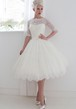 Tea-Length A-Line Half Sleeve Bateau Neck Appliqued Lace Wedding Dress