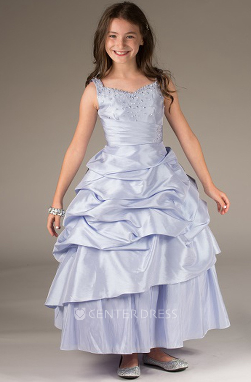 Flower Girl Beading Neck Taffeta Ball Gown With Ruffled Skirt ...