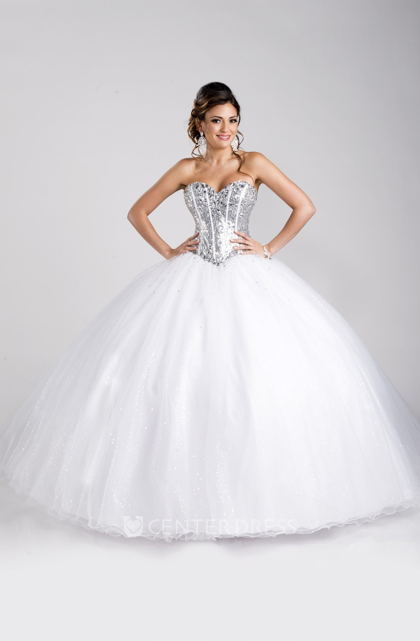 Sequined Corset Sweetheart Neckline Ball Gown With Lace-Up Back ...