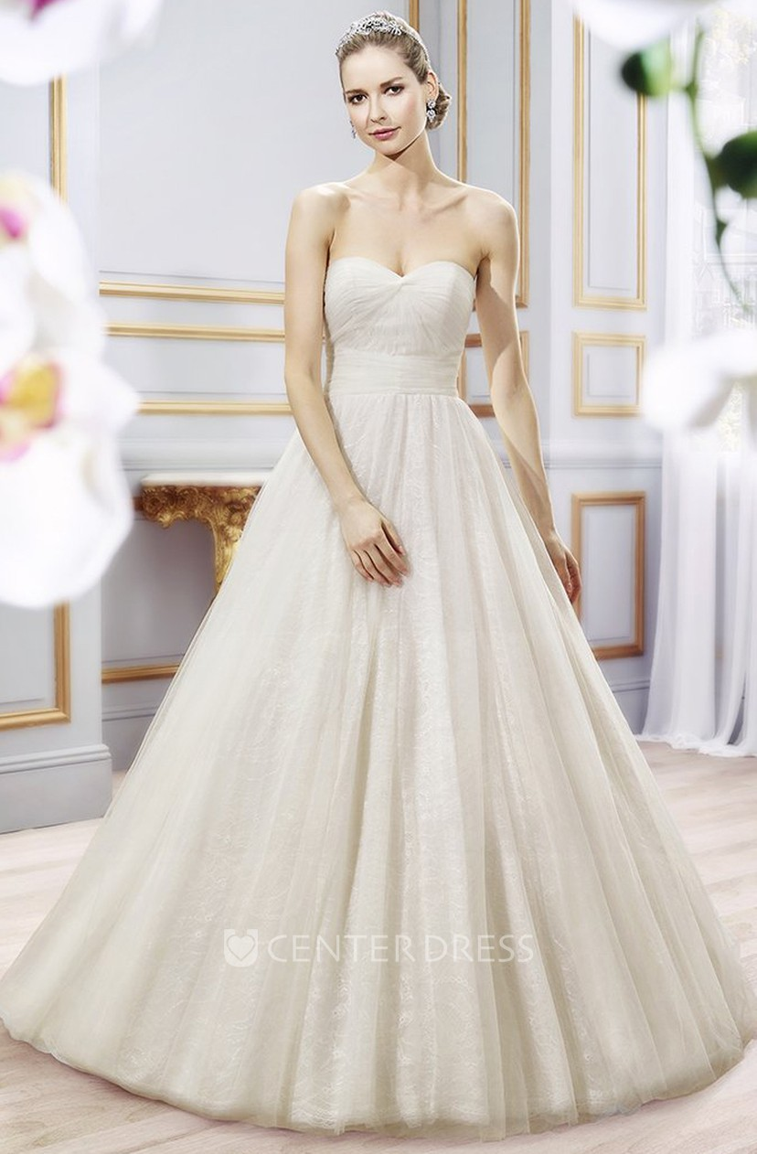 b5f87f062fc Ball Gown Sweetheart Long Tulle Wedding Dress With Pleats - UCenter Dress