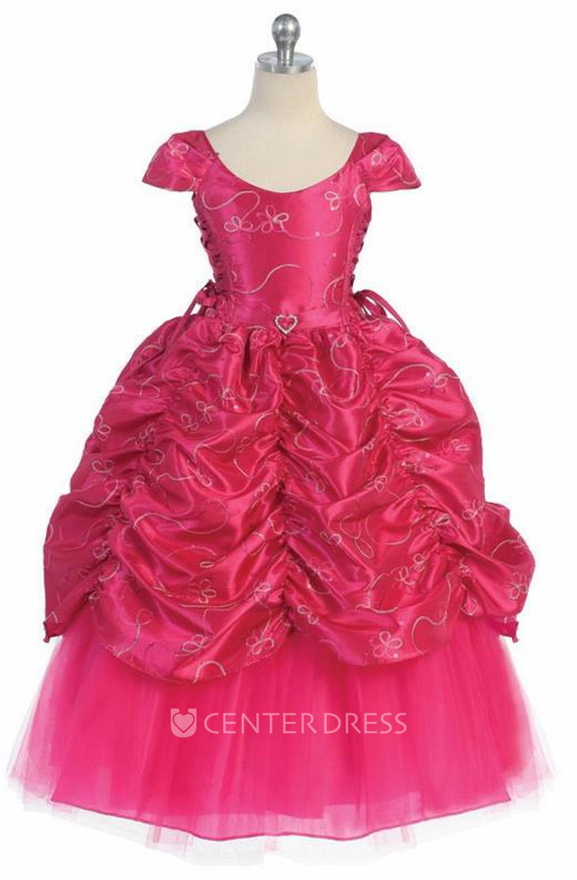 Ankle-Length Tiered Embroideried Lace&Taffeta Flower Girl Dress With ...