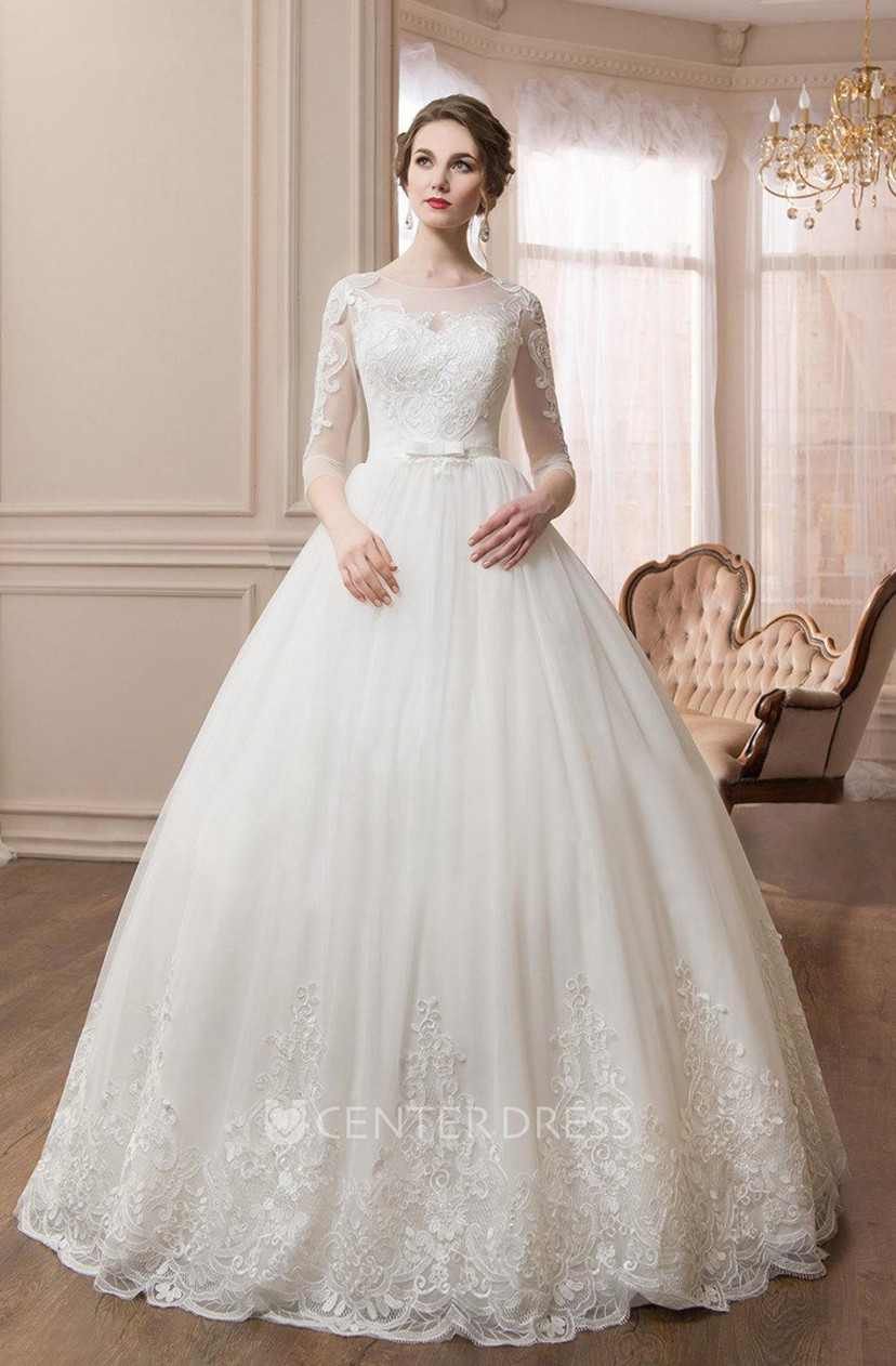 a00b46218936 Scoop Long Sleeve Ball Gown Dress With Illusion Sleeves - UCenter Dress