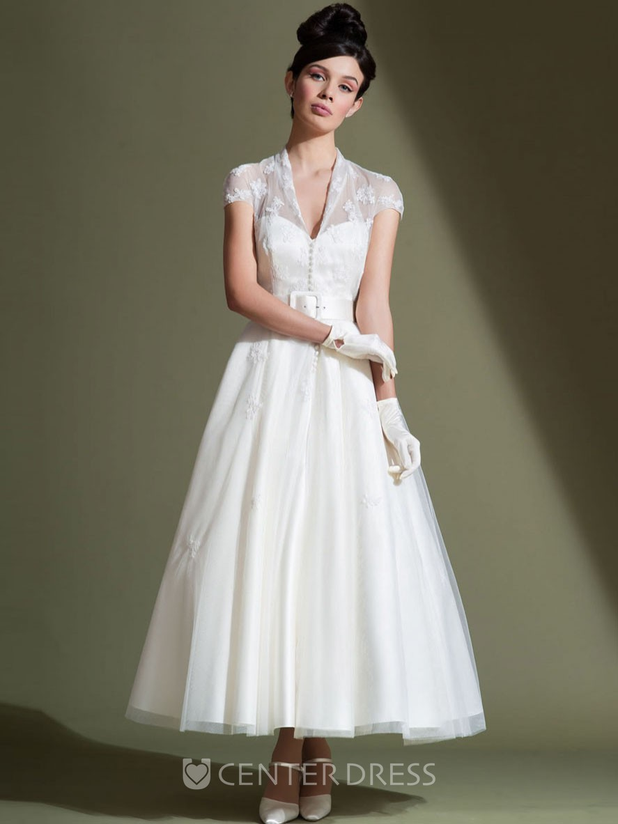 Ankle length a line v neck cap sleeve appliqued tulle for Ankle length wedding dress with sleeves