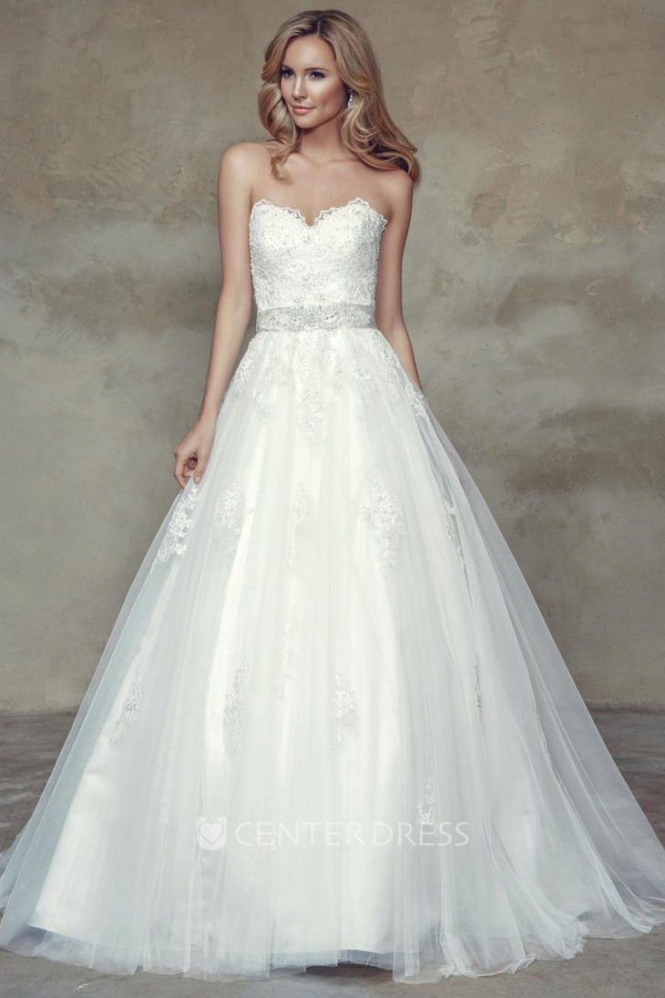 Ball Gown Jeweled Sweetheart Tulle Wedding Dress With Bow - UCenter ...