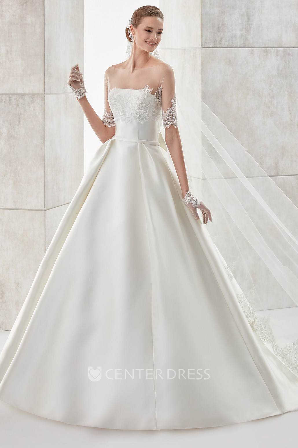 Strapless A Line Satin Wedding Dress With Detachable Illusion Lace