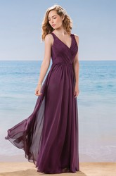 V-Neck Sleeveless Long Chiffon Bridesmaid Dress With Lace Back