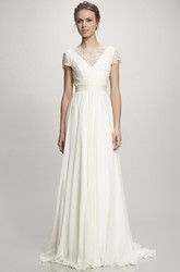 Bateau Maxi Ruched Cap-Sleeve Chiffon Wedding Dress With Sweep Train And V Back