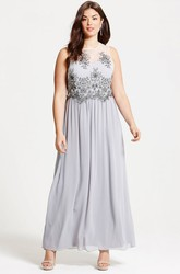 Ankle-Length Sleeveless Appliqued Scoop Neck Chiffon Bridesmaid Dress