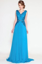V-Neck Appliqued Maxi Sleeveless Chiffon Prom Dress With Waist Jewellery And Pleats