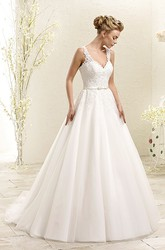 A-Line Sleeveless Appliqued Floor-Length V-Neck Wedding Dress