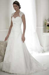 A-Line Sweetheart Floor-Length Cap-Sleeve Appliqued Satin Wedding Dress With Keyhole Back And Sweep Train