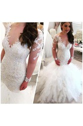 Mermaid Trumpet V-neck Lace Tulle Zipper Wedding Dress