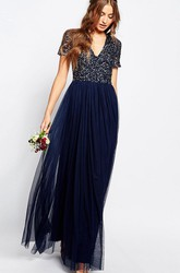 A-Line V-Neck Beaded Short-Sleeve Floor-Length Chiffon Bridesmaid Dress With Pleats