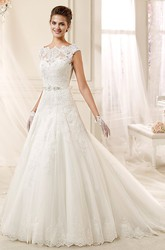 Scalloped-neck A-line Wedding Dress with Cap Sleeves and Appliques